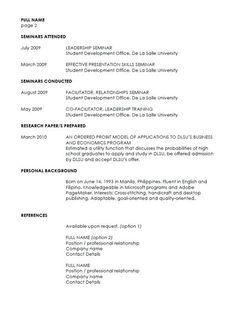 Sample One Page Resume Format  Fresh Graduate Resume Format