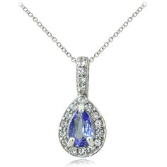 Glitzy Rocks Sterling Silver Tanzanite and White Topaz Teardrop... ($21) ❤ liked on Polyvore featuring jewelry, necklaces, blue, blue teardrop necklace, long sterling silver necklace, teardrop pendant necklace, rolo chain necklace and tanzanite necklace