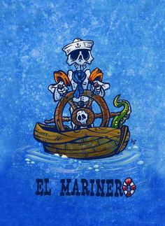 Day of the Dead Artist David Lozeau, El Marinero Loteria, Oceanic Art, Dia de los Muertos Art, Sugar Skull Art, Candy Skull, Skull Art, Skeleton Art