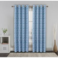 FlamingoP Room Darkening Ikat Fret Blackout Top Grommet Unlined Thermal Insulated Window Curtains, Set of Two Panels, each 96 by 52, Dusty Blue, http://www.amazon.com/dp/B01D2IM56I/ref=cm_sw_r_pi_n_awdm_cH9FxbJZQ5RNK