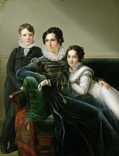 1813  A lady with her son and daughter. The boy wears a dark suit and a white dress for the girl. Kinson, François Joseph .
