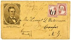 Rare Campaign cover/envelope for the 1860 Lincoln Presidential Campaign featuring a beardless Lincoln portrait published by Wm. B. Keen, Chicago. (c. 1860). *s*