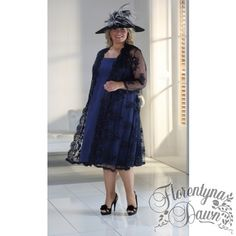 Florentyna Dawn Mavis Dress and 3/4 Coat in 2 tone Navy