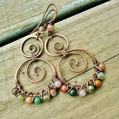 Hammered Copper Swirls with Fancy Jasper beads criss cross wire wrapped in antiqued copper by BearRunOriginals on Etsy.