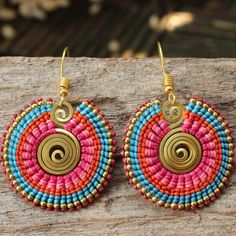 Shaped brass and waxed cotton funky tribal earrings