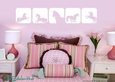 unicorn decor | Unicorn Horse Squares Girls Toddler Infant Room Decor Vinyl Wall Art ...