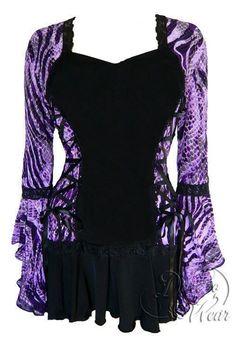 Dare To Wear Victorian Gothic Women's Plus Size Bolero Corset Top Wild Purple - fun, funky, and wild! Yohji Yamamoto, Festival Blouses, Bolero Top, Bolero Jacket, Victorian Corset, Victorian Shirt, Harajuku, Purple Fashion, Gothic Fashion