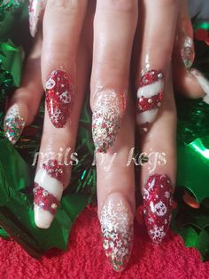 Candy cane style xmas glitter stamping with crystals Christmas Nails, Xmas, Candy Cane, My Nails, Stamping, Glitter, Crystals, Beauty, Style