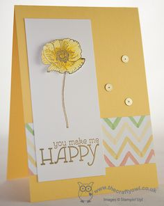 The Crafty Owl's Blog | Yellow Happy Watercolor Poppy - Happy Watercolor SS Watercolor Wonder Designer Series Paper Gold Sequin Trim