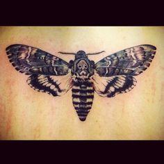 Deaths head moth tattoo High Wycombe in Buckinghamshire,