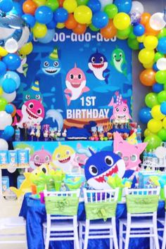 Check out the 12 Most Popular Boy Birthday Party Themes! Water Birthday, Boys First Birthday Party Ideas, 1st Birthday Decorations, 1st Boy Birthday, Boy Birthday Parties, Fun Party Themes, Theme Ideas, First Birthdays, Baby Shark