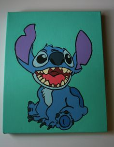 Disney's Stitch Canvas Painting by MagicalCanvas on Etsy