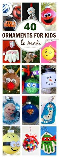 40 ORNAMENTS FOR KIDS TO MAKE (THAT THEY WILL LOVE!) Toddler Crafts, Preschool Crafts, Crafts For Kids To Make, Arts And Crafts, Christmas Ornaments, Holiday Decor, Home Decor, Kid Crafts, Xmas Ornaments