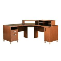 South Shore Furniture, U@Work Collection, Corner Desk, Autumn Cherry and Solid Black by South Shore Furniture. $489.99. Measures 69 by 69 by 37 inches; 5-year warranty. Slide-out keyboard tray; nickel-finish feet and drawer handles; assembly required. Made of engineered-wood panels that carry the Forest Stewardship Council (FSC) certification. 2 drawers; roomy cupboard with adjustable shelf for computer CPU. Space-saving corner desk with mobile screen support and storage hutch. A...