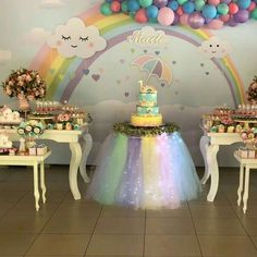 Image may contain: indoor Unicorn Themed Birthday Party, Rainbow Birthday Party, 1st Birthday Girls, 2nd Birthday Parties, Unicorn Party, Birthday Party Decorations, Baby Shower Decorations, Cloud Party, Rainbow Parties