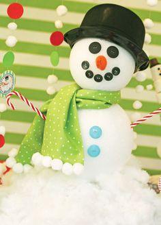 styrofoam balls, buttons, felt nose, candy cane arms, batting around bottom...hat??