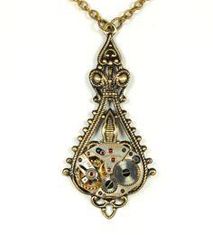 Steampunk Jewelry Necklace Steampunk Vintage Watch Necklace Ant Brass Victorian Art Nouveau Steam Punk Jewelry by Victorian Curiosities