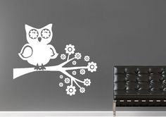 Owl Flowers Childrens Wall Stickers Adhesive Wall Sticker