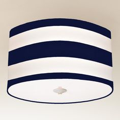 Deck Stripe Drum Shade Ceiling Light - navy and white. Perfect for guest room!
