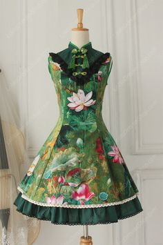 Lolita Cotton Vintage Chinese lotus Flounced Stand Collar OP Dress