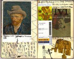 Carnet de voyage (encre -feutres et collages) : Joseph 10 ans