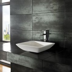 Sleek and stylish Agio Pure White Solid Surface 42.5cm x 42.5cm Square Countertop Basin