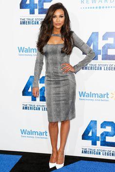 Naya Rivera Cocktail Dress - Naya Rivera loves figure-hugging frocks like this gray long-sleeve dress, featuring a neck cutout.