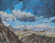 """Storm Clouds at Glacier National Park"" watercolor by Leslie White http://www.trailheadstudios.com"