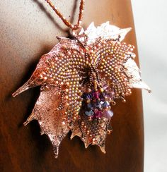 Beadweaving Beadwoven Maple Leaf Necklace in by TheHighBead