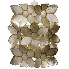 Lovely Capiz Champange Flower Ceiling  Light Shade Pendent Bedroom Home Gift NEW