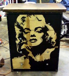 Wood stained Marilyn Monroe  dresser I did for a hair salon. KRACKERS inc. (828) 342-9036