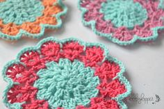 Spring Blossom Crochet Coasters | Use these colorful coasters at your next brunch this spring!