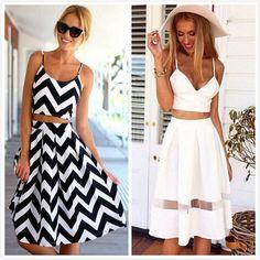 Cute Two Piece Stripe Spaghetti Crop Top Midi Skirt Set Holiday Beach Maxi Dress #Unbranded #
