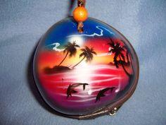 souvenir painted COCONUT SHELL PURSE tropical Hawaiian zipper closure glossy WOW #Unbranded #Baguette