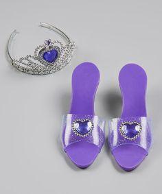 Purple Heart Gem Shoes & Tiara #zulily #zulilyfinds