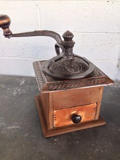 Old coffee grinder with copper top by BarnandBungalow on Etsy, $34.00