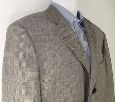 Men HUGO BOSS Angelico Gray Plaid Wool Blazer 3 Button - sz 42R EUC #HUGOBOSS #ThreeButton