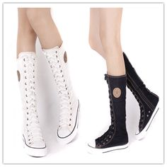 EMO SHOES Details about PUNK GOTH HOLE KNEE HIGH CANVAS SNEAKER BLACK BOOTS Zip | eBay