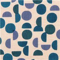 blue circle & semicircle pattern Geo Canvas fabric 'Monochrome' Kokka Japan