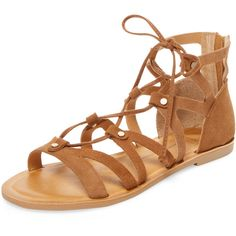 Dolce Vita Women's Jarra Lace-Up Leather Sandal - Brown, Size 10 ($65) ❤ liked on Polyvore featuring shoes, sandals, brown, flat leather sandals, brown lace up sandals, lace up flat sandals, flat pumps and lace up flats