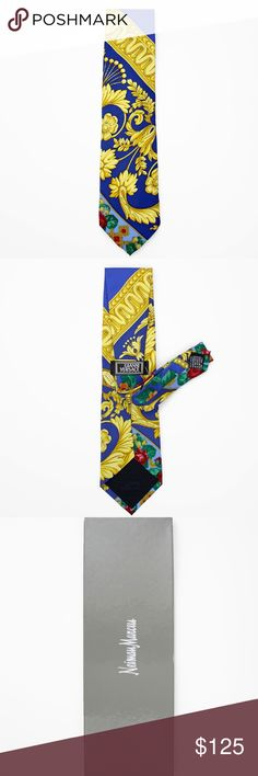 """❄️Gianni Versace - Printed Silk Tie - NWOT Gianni Versace silk tie with classic Versace paisley pattern in gold, royal blue, and pixeled flowers. Previously $125  Condition New without tags in box (comes in original Neiman Marcus box)  Details + Care 100% Silk, Made in Italy  Size & Fit Approx 3.75"""" at widest Versace Accessories Ties"""