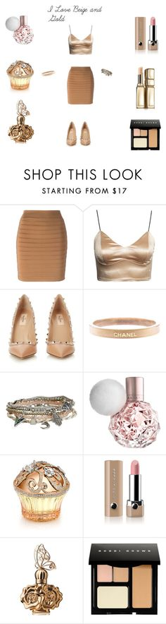 """I love Beige and Gold"" by irma-jeskanen on Polyvore featuring Balmain, Valentino, Chanel, Aéropostale, House of Sillage, Marc Jacobs, Anna Sui, Bobbi Brown Cosmetics, Guerlain and women's clothing"