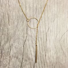 Gold Bubble  Bar Necklace Brass Lariat Geometric by ArisAdonis