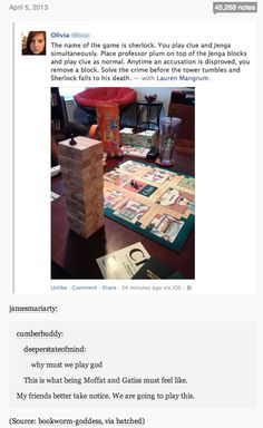 The Sherlock game…I might actually play this. I'm going to do this with sherlock cluedo Johnlock, Martin Freeman, Sherlock Holmes, Sherlock Fandom, Moriarty, Funny Sherlock, Watch Sherlock, Sherlock Season, Sherlock John