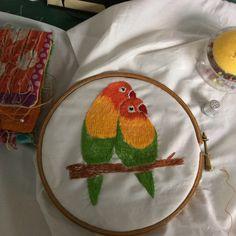 Lovebirds. Hand embroidered. www.violetshirran.com