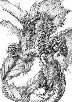 Water dragon by FlamSlade on DeviantArt DeviantArt is the world's largest online social community fo Dragon Images, Dragon Pictures, Fantasy Dragon, Fantasy Art, Fantasy Creatures, Mythical Creatures, Cool Drawings, Drawing Sketches, Dragon Coloring Page