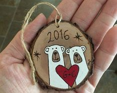 Personalized polar bear ornament, wood Christmas ornament, wedding engagement ornament, anniversary gift, ornament, holiday ornament #anniversarygifts