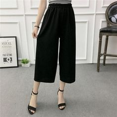 8a79a5ef74b54 Women New Summer Wide Leg Pants Casual Loose High Elastic Waist Harem Pants  Loose Belt Striped Elasticated Trousers