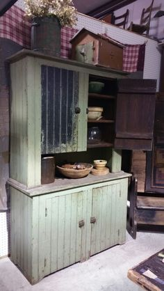 Early farm canning cupboard green paint for sale at Route 66 Antique Mall Primitive Furniture, Primitive Antiques, Primitive Decor, Country Cupboard, Antique Cupboard, Vintage Decor, Vintage Furniture, Rustic Decor, Farmhouse Style Decorating