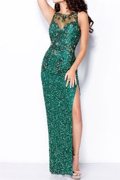 Emerald Beaded Evening Gown